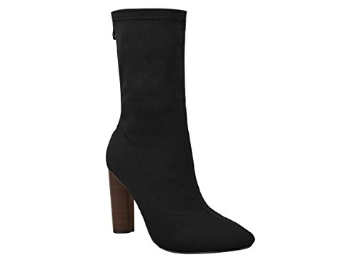 Toe Black Leg Calf High Wood Pointed with Effect Shoes Womens Block Stretch Knitted Chockers Ladies Mid Length Heel aTSw0