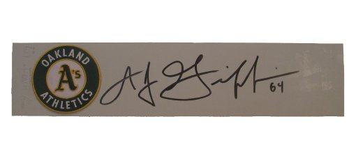 Oakland Athletics A.J. Griffin Autographed Hand Signed A's Logo Schutt Pitching Rubber with Proof Photo of Signing and COA, AJ Schutt Pitching Mound Rubber
