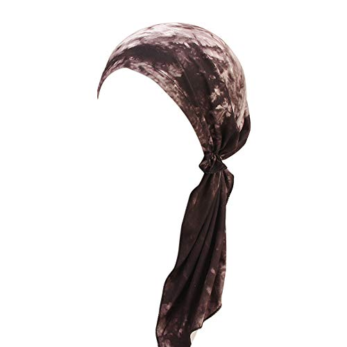 Womens Great Hats,ZOMUSAR Womens Chemo Hat Pre Tied Ruffle Headscarves Turban Headwear for Cancer (E)