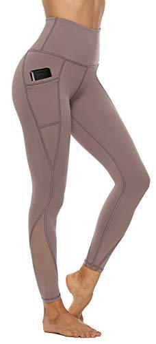 AFITNE Women's High Waist Mesh Yoga Leggings with Side Pockets, Tummy Control Workout Squat-Proof Yoga Pants