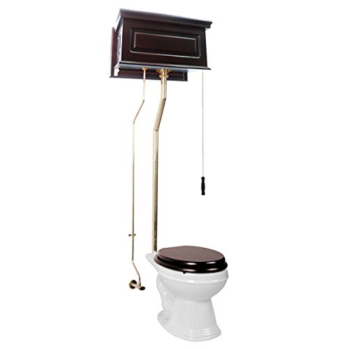 Renovator's Supply Dark Oak High Tank Pull Chain Toilet With Elongated White China Bowl And Brass L-Pipe