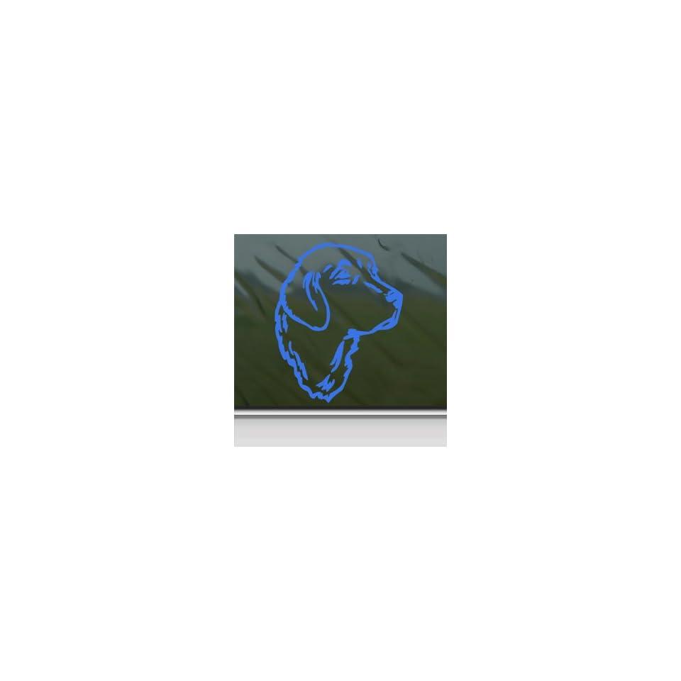 Golden Retriever Dog Head Blue Decal Truck Window Blue