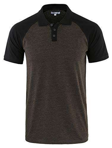 Vetemin Mens Casual Retro Short Sleeve Active Raglan Jersey Polo Henley T Shirt H.Charcoal/Black -