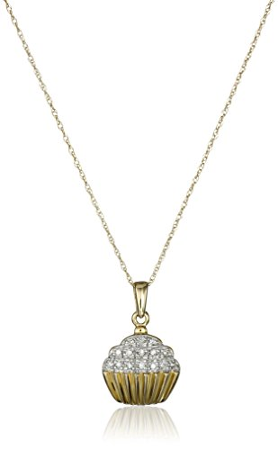 10k Yellow Gold Diamond Accent Cupcake Pendant Necklace