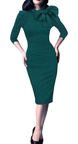 Green Sleeve Jaycargogo Stretch Half Tie Womens Pencil Sexy Knot Bodycon Dress AvvE0rnS