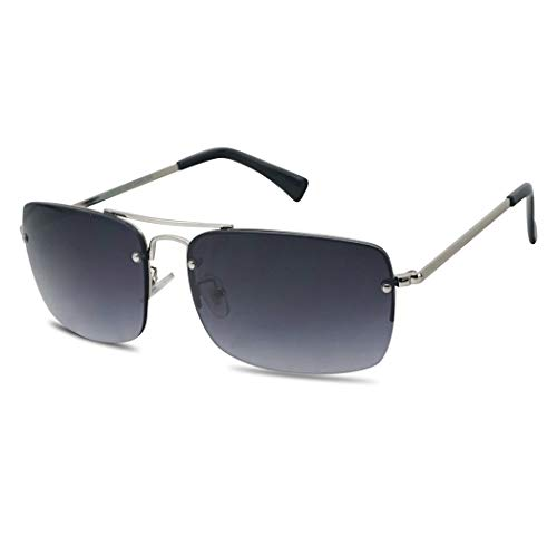 1c01f619a3 Classic Gradient Tint Rimless Square Aviator Sun Readers Full RX Strength  Sunglasses (Silver Frame