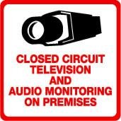 Security Sign - #205 Video & Audio CCTV Security Surveillance Camera System Warning Sign - Commercial Grade.