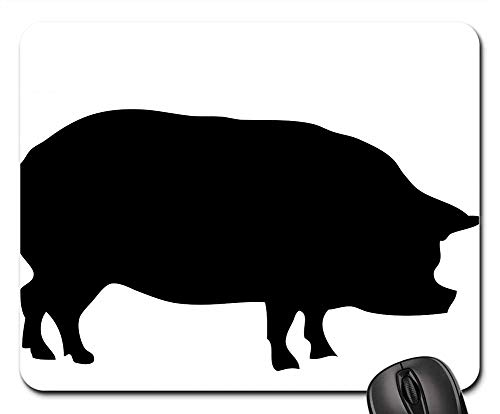 Mouse Pads - Pig Animal Porker Porky Big Black Silhouette Art