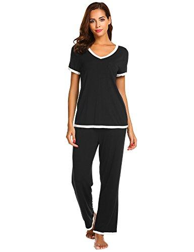 (Ekouaer Women Pajamas Set Short Sleeve V-Neck Pullover Tops with Pants Cotton PJ Sleepwear (Black S))
