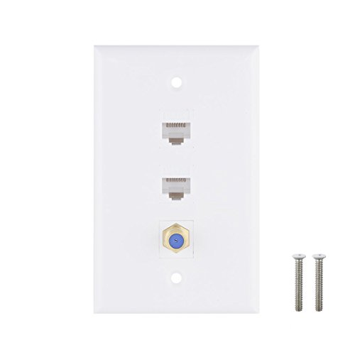 Ethernet Coax Wall Plate, 2 Port Cat6 Keystone Female to Female, 1 Port F Type Connector Coax Keystone Female to Female Wall Plate - White