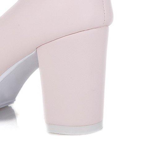 Zapatos De Tacón Alto Para Mujer Allhqfashion Solid Pull On Round Closed Pumps-Zapatos Pink