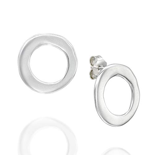 Women's 925 Sterling Silver Circle Stud Earrings with Post & Butterfly Backs