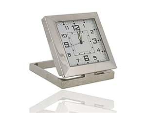 Mini Square Metal Clock with Spy Camera Motion Detection DVR (Silver)