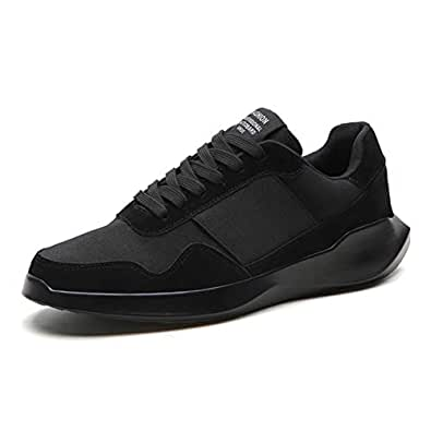 Yong Ding Men Casual Sneakers Low Top Comfy Sports Shoes Shock Absorbing Road Running Shoes Lightweight Trainers Black