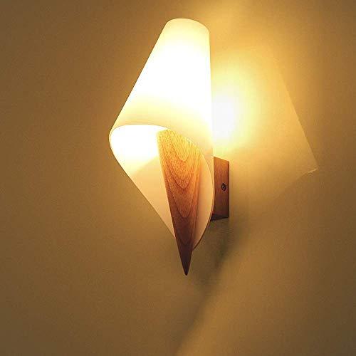 ZYY  Moderne Minimaliste Blanc Laiton Abat-Jour Applique Murale En Bois LED Chambre Lampe De Chevet Applique Allée Salon Corridor Décoratif Mur Lumière Salle De Bains Miroir Phare