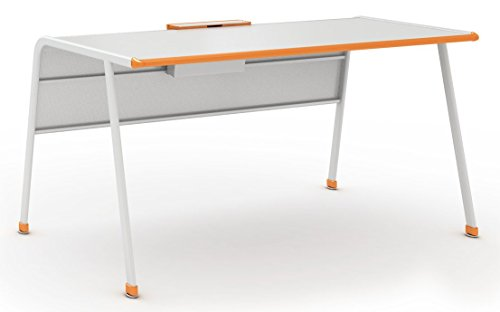 Paragon Furniture AND-TSC3060REC-30H-366XZZX Teacher Desk, Gray Work Surface, Orange Edge and Accents, Wisdom - Desks 30h