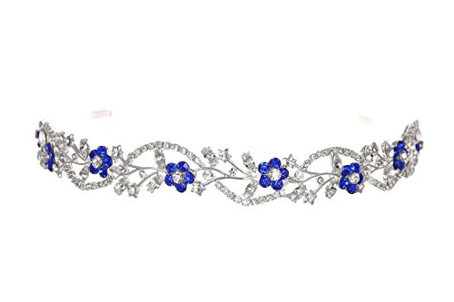 Bridal Flower Rhinestones Crystal Wedding Headband Tiara - Blue Crystal Silver Plated T1164 -