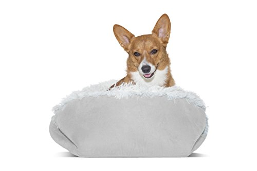 FurHaven Pet Dog Bed | Convertible Self-Warming Cuddle Pet Bed for Dogs & Cats, Silver, Small