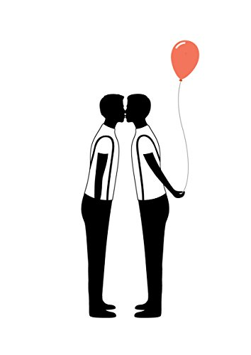 Gay silhouette balloon card - Gay birthday card - same sex birthday card