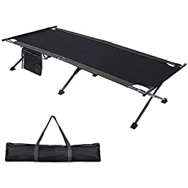 PORTAL Folding Camping Cot, Compact Collapsible Heavy Duty Adult Sleeping Cot Bed with Storage Bag, Great for Travel Tent, Heavy Duty Design Support 300lbs for Indoor & Outdoor Use