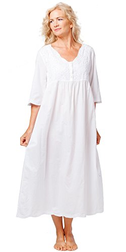 Cotton Embroidered Nightgown - La Cera Boutique Embroidered Long Cotton Nightgowns in White Sunflower (Medium (10-12), White)
