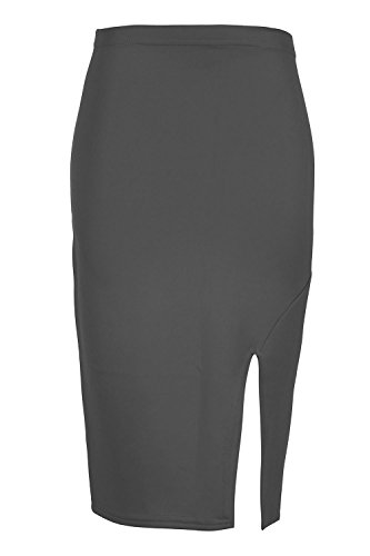 Oops Outlet pour femmes c?t fente Split Smart dcontract Tube crayon adapt Wiggle bodycon extensible fte Jupe Midi Taille plus UK 8C26 Charbon