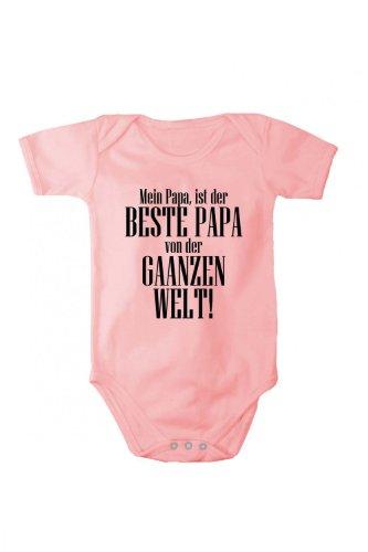 Baby Body mit Druck Mein Papa ist der BESTE PAPA in verschiedenen Sprachen, Größe:56;Farbe/Sprache:Rosa Text Deutsch