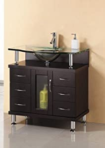 Virtu USA MS 32 FG ES Vincente 32 Inch Bathroom Vanity With Single Sink  With Frosted Tempered Glass Countertop, Espresso Finish