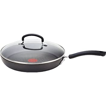T-fal E91898 Ultimate Hard Anodized Scratch Resistant Titanium Nonstick Thermo-Spot Heat Indicator Anti-Warp Base Dishwasher Safe Oven Safe PFOA Free Glass Lid Cookware, 12-Inch, Gray