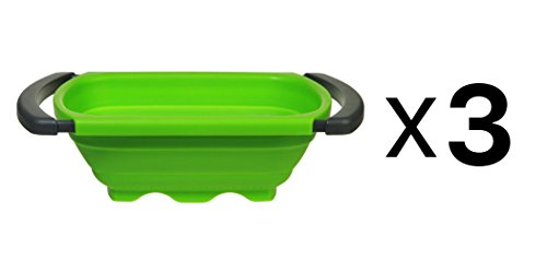 Progressive CC-130 Over-The-Sink Colander, Expandable, Green/Gray Plastic, 6-Qt. - Quantity 3 -  735639