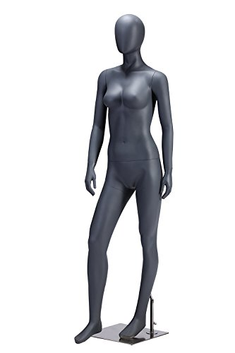Wowell Female Gray Color Full Body Fiberglass Abstract Mannequin with Metal Base by WOWELL