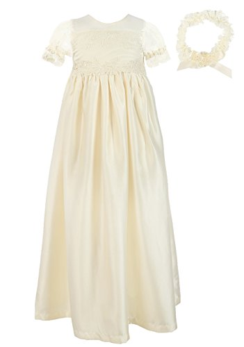 NIMBLE Baby Girls Baptism Christening Embroidered Gown with Headband for 0-12 Months ()