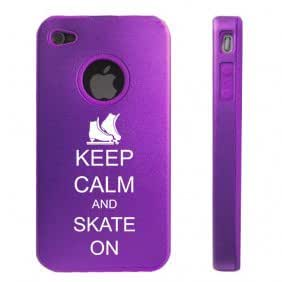 Apple iPhone 4 4S Purple D6543 Aluminum & Silicone Case Cover Keep Calm and Skate On Ice Skate