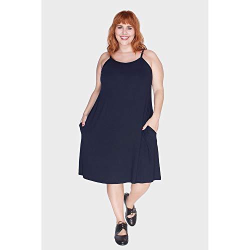Vestido Com Alças Finas Plus Size Marinho-58/60