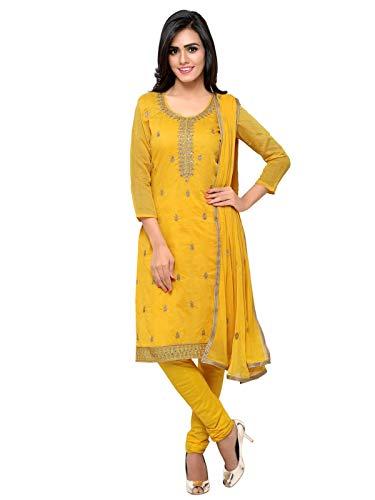 - Kanchnar Women's Yellow Chanderi Cotton Unstitched Dress Material