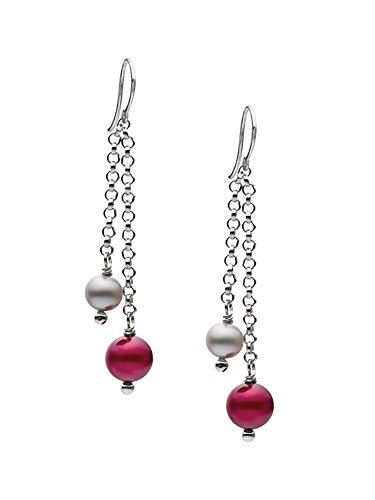 - Sterling Silver Cranberry/Silver Freshwater Cultured Pearl Dangling Earrings AAA Quality (5-7mm)