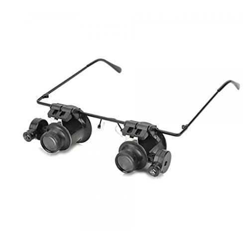 OYA 20X Magnification Glasses Type Magnifier with White LED Light Black