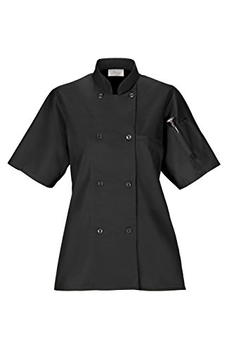 Happy Chef Women's Lightweight Chef Coat (Medium, Black) by Happy Chef