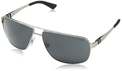 Polo Ralph Lauren PH3088 9046-87 Matte Silver / Black PH3088 Square Aviator - Ralph Lauren Polo Sunglasses