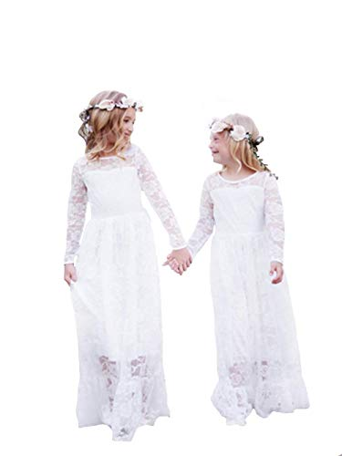 Flower Girl Retro Dress Party Cosplay Princess Birthday Dress-up Lace White ()
