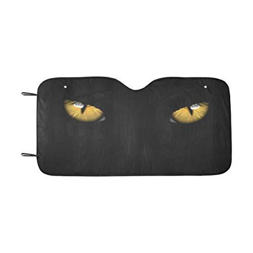 InterestPrint Yellow Eyes Black Panther on Dark Background Halloween Theme Windshield Sunshade for Car SUV, Auto Front Window Sun Shade Visor Shield Cover, 55