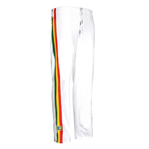 JL Sport Authentic Brazilian Capoeira Martial Arts Pants - Unisex (White with Stripes) L