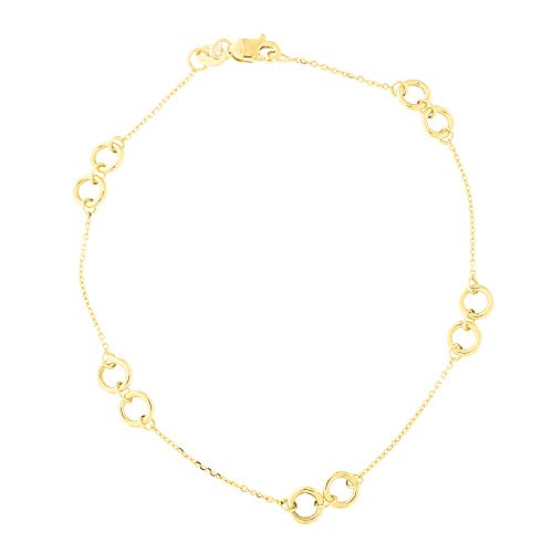 14k Yellow Gold Diamond Cut Cable Chain Double Ring Station Link Bracelet,7.5 Inches ()