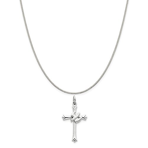 Mireval Sterling Silver Holy Spirit Cross with Dove Charm on a Sterling Silver Box Chain Necklace, 18