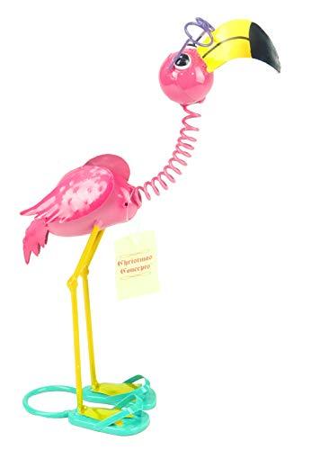 (Christmas Concepts 39cm Standing Metal Pink Flamingo with Glasses - Indoor/Outdoor Garden Decorations)