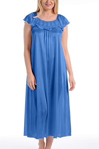 Ezi Women's Satin Silk Night Gown Ruffle Nightgown for Women (X-Large Long, Light ()