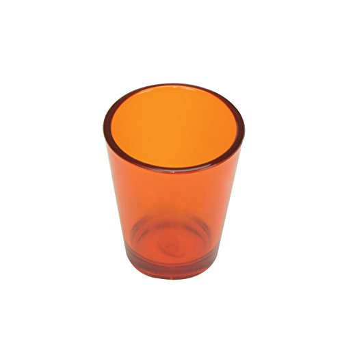 Thirsty Rhino Revel, Thick Hard Plastic Polycarbonate 1.5 oz Shot Glass, Round, Orange, Set of -