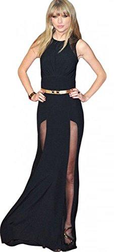 ee0ed8493bbe Abito NERO da sera lungo Maxi vestito velato cerimonia elegante SEXY nero  evento club elegante celebrity