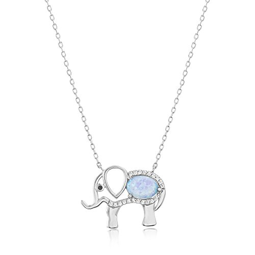 Cubic Elephant Zirconia - Lesa Michele Lab Created Blue Opal & Cubic Zirconia Elephant Pendant in Sterling Silver