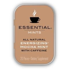 Essential Mints 400 mg | Energizing Mocha Peppermints with Caffeine All Natural, Gluten Free, Hfcs Free, Non GMO, Vegan, Energy Supplements, 80 Pieces (4 Packs of 20 Mints Each)